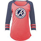 5th & Ocean Women's Atlanta Braves Red Tri-Blend Three-Quarter Sleeve Shirt