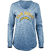 5th & Ocean Women's San Diego Chargers Space Dye Navy Long Sleeve Shirt