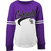 5th & Ocean Youth Girls' Colorado Rockies White/Purple Three-Quarter Sleeve Shirt