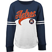5th & Ocean Youth Girls' Houston Astros White/Navy Three-Quarter Sleeve Shirt