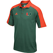adidas Men's Miami Hurricanes Green/Orange Sideline Performance Polo