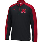 adidas Men's Nebraska Cornhuskers Black/Scarlet Sideline Long Sleeve Quarter-Zip Shirt