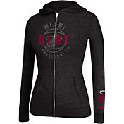 adidas Women's Miami Heat Courtside Tri-Blend Black Full-Zip Hoodie