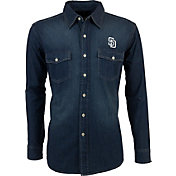Antigua Men's San Diego Padres Chambray Button-Up Long Sleeve Shirt