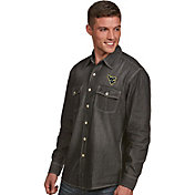 Antigua Men's West Virginia Mountaineers Long Sleeve Button Up Chambray Shirt