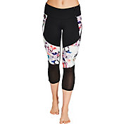 CALIA by Carrie Underwood Women's Adjustable Printed Mesh Capris