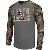 Colosseum Athletics Men's Florida State Seminoles Grey/Camo Break Action Long Sleeve Shirt