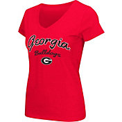 Colosseum Athletics Women's Georgia Bulldogs Red Script Graphic V-Neck T-Shirt