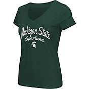 Colosseum Athletics Women's Michigan State Spartans Green Script Graphic V-Neck T-Shirt