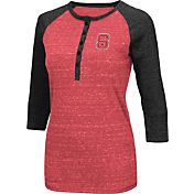 Colosseum Women's NC State Wolfpack Red Three-Quarter Sleeve Henley Shirt