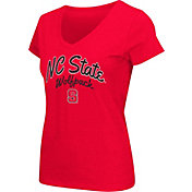 Colosseum Athletics Women's NC State Wolfpack Red Script Graphic V-Neck T-Shirt