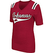 Colosseum Athletics Women's Arkansas Razorbacks Cardinal Artistic V-Neck T-Shirt