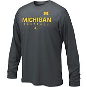 Jordan Youth Michigan Wolverines Anthracite Football Dri-FIT Cotton Long Sleeve Shirt