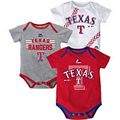 Majestic Infant Texas Rangers Three-Piece Onesie Set