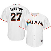 Majestic Men's Replica Miami Marlins Giancarlo Stanton #27 Cool Base Home White Jersey