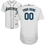 Majestic Men's Custom Authentic Seattle Mariners Flex Base Home White On-Field Jersey
