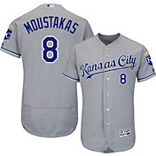 Majestic Men's Authentic Kansas City Royals Mike Moustakas #8 Road Grey Flex Base On-Field Jersey