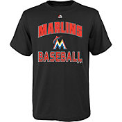 "Majestic Youth Miami Marlins Black ""Marlins Baseball"" T-Shirt"
