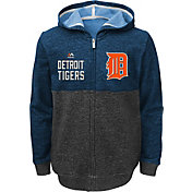 Majestic Youth Detroit Tigers Navy Full-Zip Hooded Fleece