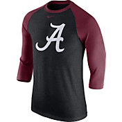 Nike Men's Alabama Crimson Tide Grey/Crimson Baseball Tri-Blend Logo Raglan Shirt