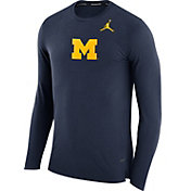 Jordan Men's Michigan Wolverines Blue March Basketball Performance Long Sleeve Shirt