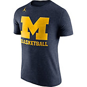 Jordan Men's Michigan Wolverines Blue Basketball Tri-Blend T-Shirt
