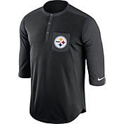Nike Men's Pittsburgh Steelers Dri-FIT Touch Henley Black Three-Quarter Sleeve Shirt