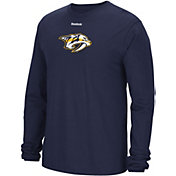 Reebok Men's Nashville Predators Jersey Crest Navy Long Sleeve T-Shirt