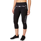 Reebok Women's Solid Pieced Stretch Cotton High Waist Capris