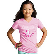 Soft As A Grape Youth Girls' Colorado Rockies Pink V-Neck Shirt