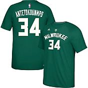adidas Men's Milwaukee Bucks Giannis Antetokounmpo #34 climalite Green T-Shirt