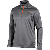 Champion Men's Clemson Tigers Grey Knit Mesh Quarter-Zip Shirt