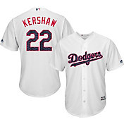 Majestic Men's Replica Los Angeles Dodgers Clayton Kershaw #22 2017 4th Of July Cool Base Jersey