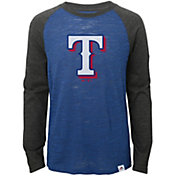 Majestic Youth Texas Rangers Royal/Grey Raglan Three-Quarter Sleeve Shirt