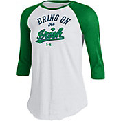 Under Armour Women's Notre Dame Fighting Irish Green/White Baseball Tee