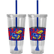Boelter Kansas Jayhawks Bold Sleeved 22oz Straw Tumbler 2-Pack