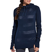 CALIA by Carrie Underwood Women's Open Knit Striped Hoodie
