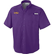 Columbia Men's LSU Tigers Purple Tamiami Performance Shirt