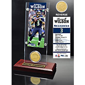 The Highland Mint Seattle Seahawks Russell Wilson Ticket and Bronze Coin Desktop Display