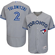 Majestic Men's Authentic Toronto Blue Jays Troy Tulowitzki #2 Road Grey Flex Base On-Field Jersey
