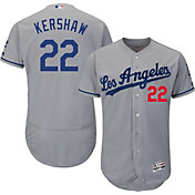 Majestic Men's Authentic Los Angeles Dodgers Clayton Kershaw #22 Road Grey Flex Base On-Field Jersey