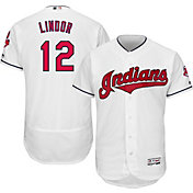 Majestic Men's Authentic Cleveland Indians Francisco Lindor #12 Home White Flex Base On-Field Jersey