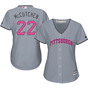 Majestic Women's Replica Pittsburgh Pirates Andrew McCutchen #22 2016 Mother's Day Cool Base Road Grey Jersey