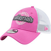 New Era Youth Girls' Washington Nationals 9Twenty Pop Stitcher Pink/White Adjustable Hat
