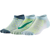 Nike Girls' Graphic Cotton No Show Socks 3 Pack