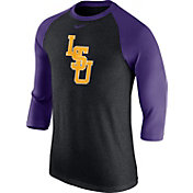 Nike Men's LSU Tigers Grey/Purple Baseball Tri-Blend Logo Raglan Shirt