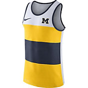 Nike Men's Michigan Wolverines White/Maize/Blue Wide Stripe Dri-Blend Tank