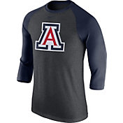 Nike Men's Arizona Wildcats Grey/Navy Baseball Tri-Blend Logo Raglan Shirt