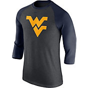 Nike Men's West Virginia Mountaineers Grey/Blue Baseball Tri-Blend Logo Raglan Shirt