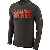 Nike Men's Cleveland Browns Marled Wordmark Brown Long Sleeve Shirt